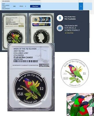 2007 Birds Of Fiji .999 Silver Collared Lory NGC PF69 Census pop:3 highest grade