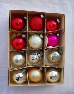 Alter Ddr Christbaumschmuck Weihnachtsbaumkugeln Farbig 12 Tgl