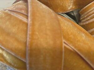 VINTAGE-1-034-VELVET-ribbon-RAYON-3-yds-GOLDENROD-Made-in-France