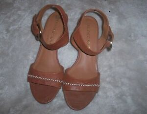 Franco-Sarto-Soft-Leather-Brown-Cognac-Wedge-Ankle-Strap-Sandals-Size-7