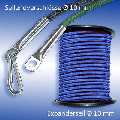 8mm Expanderseil blau 10m 10 Würgeklemmen Gummiseil Seil Klemmen Plane