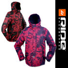 RIDE Men GATEWOOD Snowboard Ski Jacket - [Soot Smudge On Dark Red Striped Print]