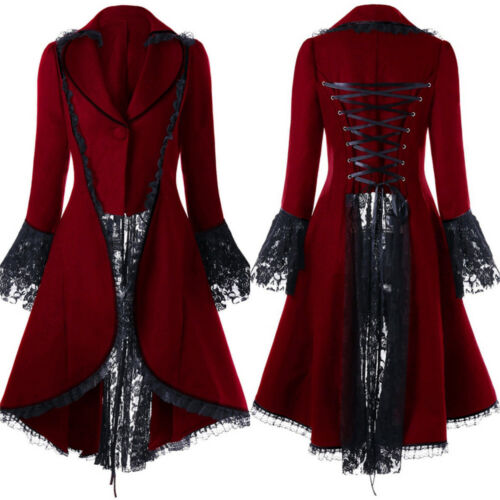 Gothic Lace Medieval Jacket Vintage Steampunk Tailcoat Long Jacket Costume