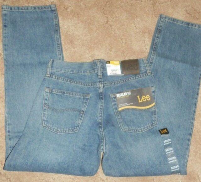 Men/'s Lee Regular Fit Straight Leg Blue Jeans 2008976 Wylie