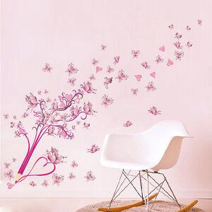 Wandtattoo Schule Mädchen Herz pink rosa Blumen Kind Schmetterling ...