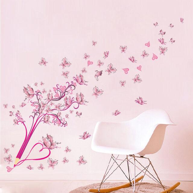 Wandtattoo Schule Mädchen Herz pink rosa Blumen Kind Schmetterling  Kinderzimmer