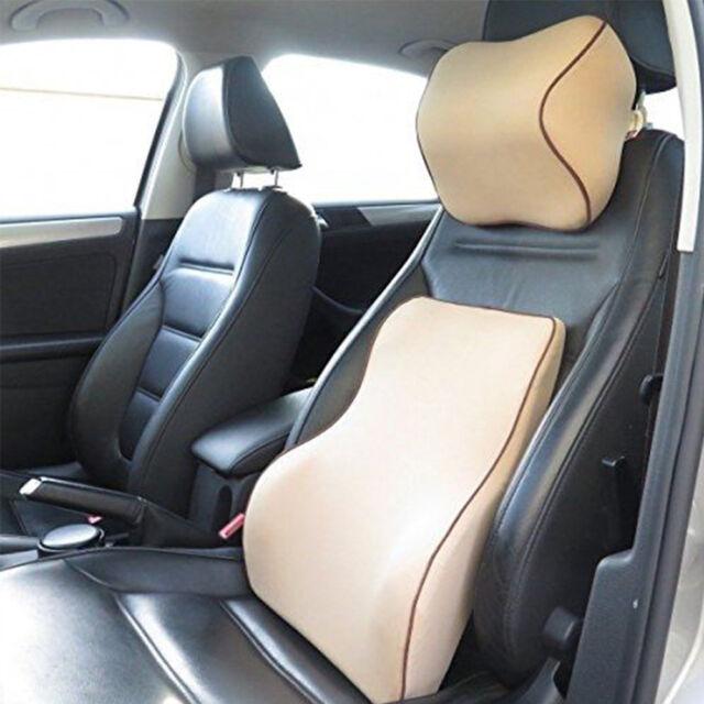 Auto Car Seat Cover Memory Foam Lumbar Cushion Neck Pillow Premium ...