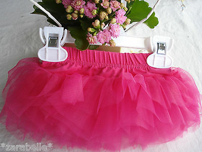 Baby Girl Party Hot Pink Fuschia 6 layers Tulle Tutu Skirt Photo Props 0-6-12-24