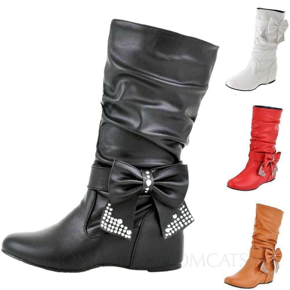 Womens MId Calf Boots Winter faux leather internal Crystal Bow Plus Size shoes