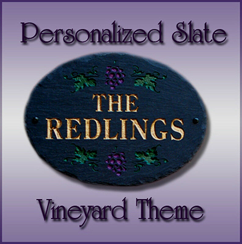 100% Natural Slate Vineyard Oval Personalized Plaque OR Address Sign