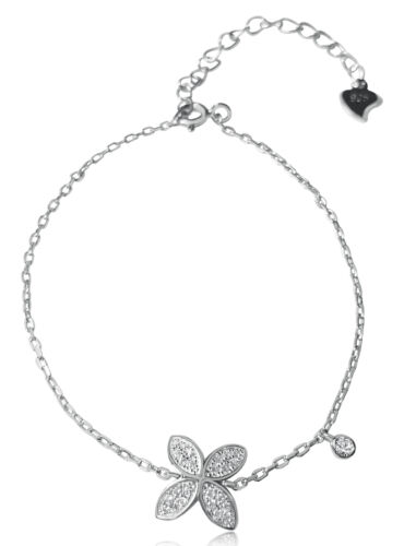 Damen Armband aus 925 Silber mit Zirkonia-Steine weiß Ankerkette-Armkette