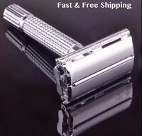 Vintage Men Double Edge Chrome Safety Razor Classic Shave Style With 10 Blades