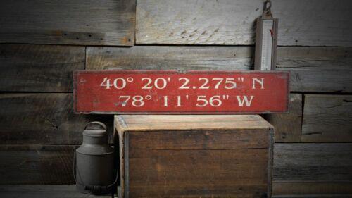 Custom Latitude /& Longitude Place Sign Rustic Hand Made Vintage Wood ENS1000503