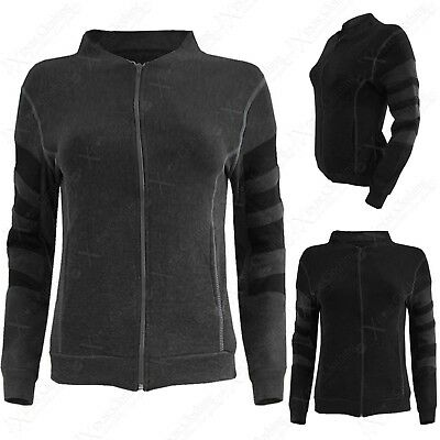 New Women Gym Sweatshirt Sport Zip Top Ladies Loungewear Black Activewear Jacket