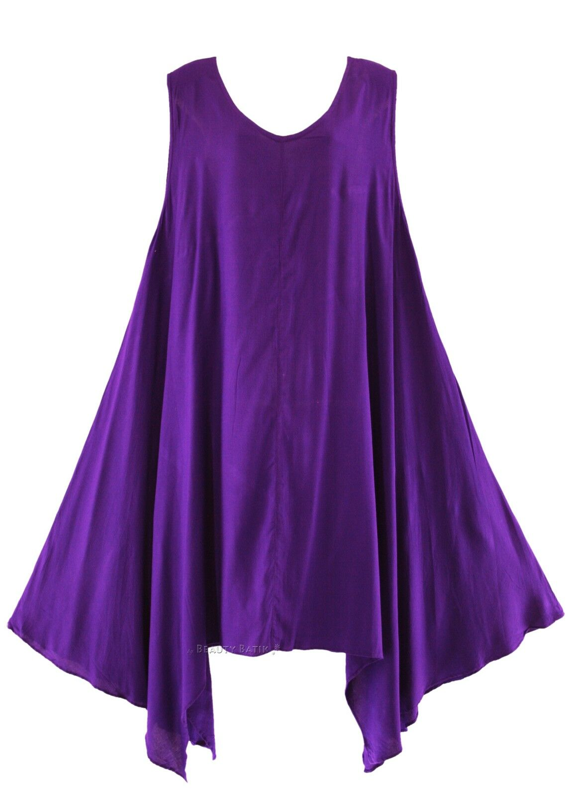 BeautyBatik Purple Women Plus Size Solid Basic Flowy Summer Sleeveless Long