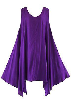 Beautybatik Purple Women Plus Size Solid Basic Flowy
