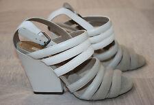 BNIB Dries van Noten SS/2011 Leather Heels in White & Cement - EU 36.5 / UK 3