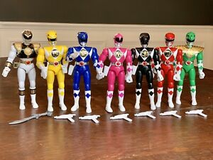 Mighty-Morphin-Power-Rangers-8-Action-Figures-Compete-Lot-Of-7-Bandai-1993-1994