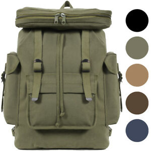 Image is loading European-Rucksack-Canvas-Backpack -German-Type-Knapsack-Army- 1cc797abb3