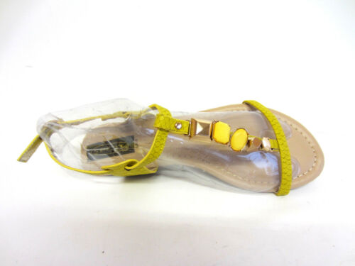 Spot On Ladies F0R992 Low Wedge Yellow Jewelled Sandal R4B