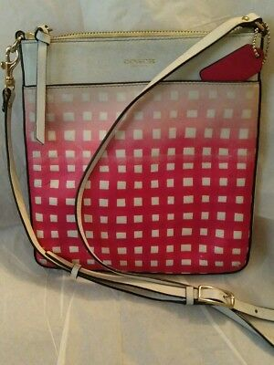 COACH White/Pink Ombre Gingham Saffiano Swing Pack/Cross Body Bag Purse