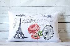 "Eiffel Postcard - 12 x 18 "" lumbar style cushion cover shabby vintage chic"