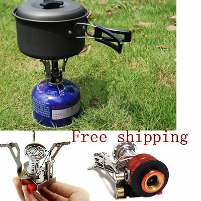 Portable Outdoor Picnic Gas Burner Foldable Camping Mini Steel Stove Case  WK