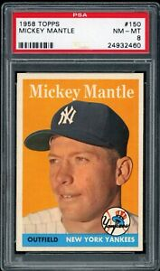 Mickey-Mantle-1958-Topps-Yankees-Card-150-PSA-8-Very-Clean