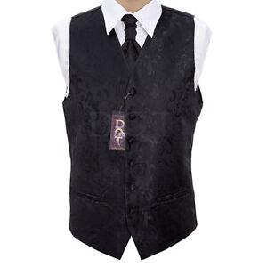 Details zu Herren Schwarz Passion Hochzeit Weste Größe EU 46 60 Auswahl Krawatte,