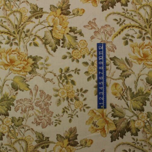 "RICHLOOM ROBIN MARMALADE YELLOW GOLD GREEN FLORAL LINEN FABRIC BY YARD 54/""W"