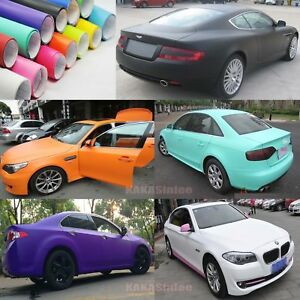 4-Colors-Flat-Entire-Car-Matte-Finish-Vinyl-Wrap-Film-Sheet-Sticker-Decal-CF
