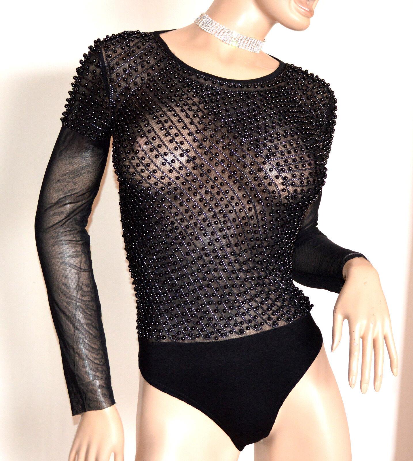 BODY NERO donna donna donna maglietta manica lunga velata sottogiacca perle elegante G28 f5c890