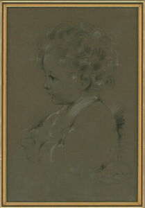 Framed Early 20th Century Charcoal Drawing - Portrait of a Young Child