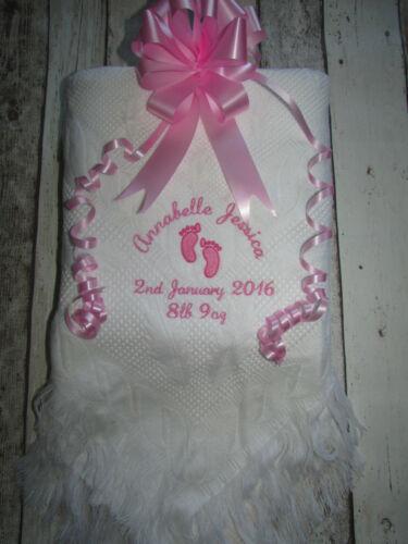 Personalised Baby Blanket Shawl Footprints Cross Birth Christening Gift Named
