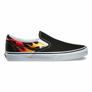 9be8bb81 Details about Vans FLAME Classic Slip-On Shoes (NEW) Black White Slip On  Flames Fire FREE SHIP