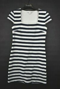 Diane Von Furstenberg Womens Suji Navy & White Stripe Shift Dress Square Neck 2