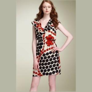 NWOT 228 Leifsdottir Anthropologie Abbey pink silk flower dots dress, size 8 M