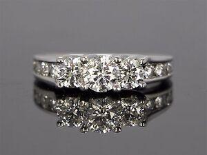 $9,995 14k Or Blanc Rond 1.90 Ct G Si Diamant Trois Pierre Bague De Fiançailles Sz 7-afficher Le Titre D'origine Pas De Frais à Tout Prix