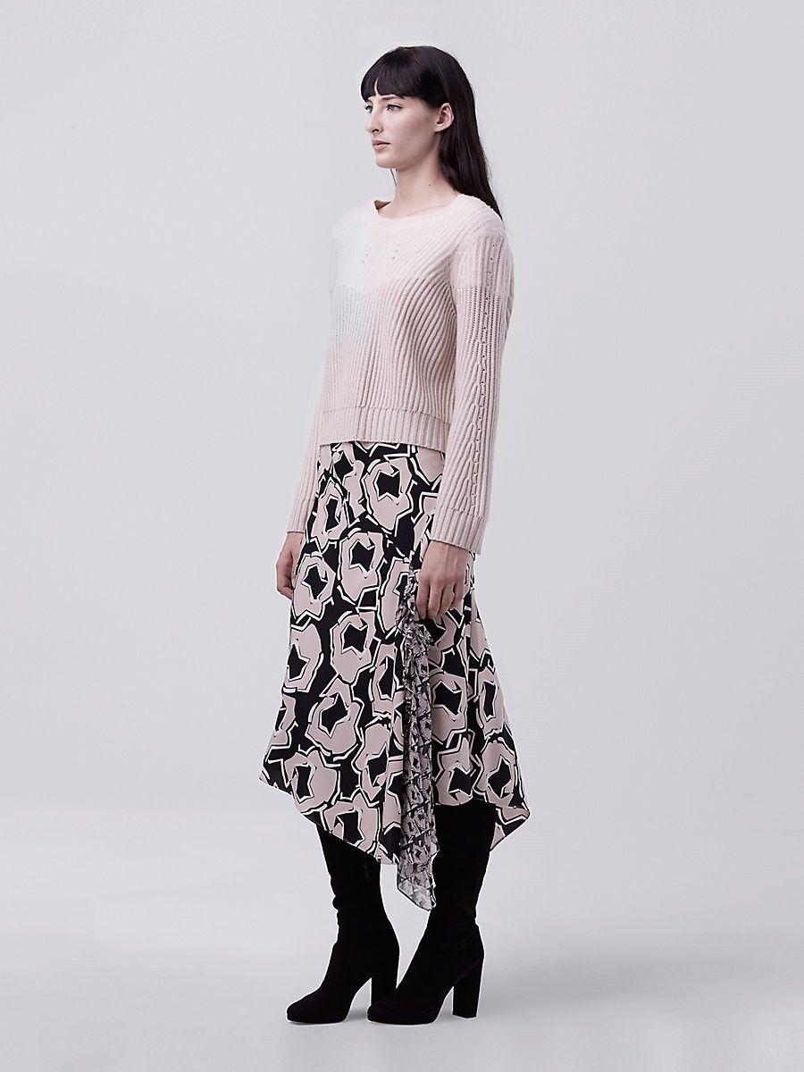 NWT Diane von Furstenberg DVF Posey Asymmetrical Ruffle Skirt Size 4  298