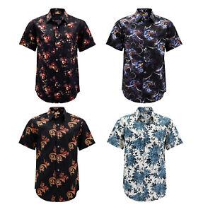 Men-s-Floral-Pattern-Casual-Button-Down-Short-Sleeve-Cotton-Dress-Shirt