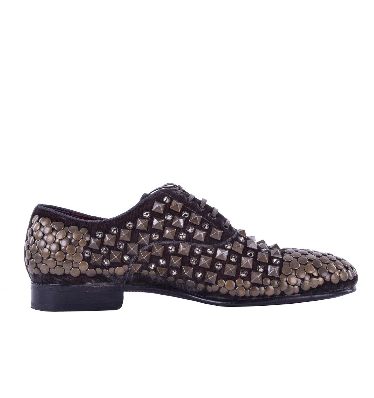 DOLCE & GABBANA RUNWAY Derby Samt Schuhe mit Nieten & Strass Braun Shoes 04901