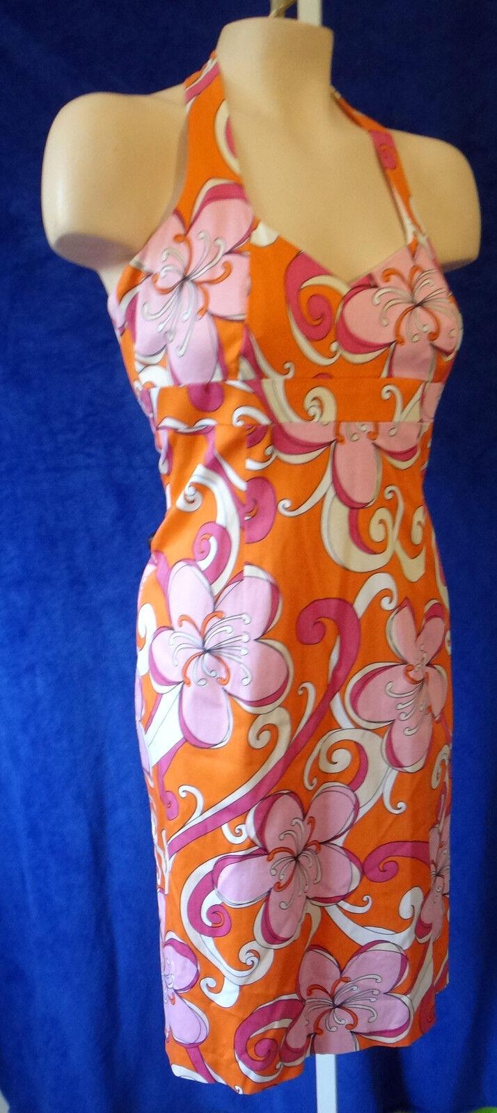 Vintage 50s 70s floral orange dress 10 laundry shelli segal bright halter pink