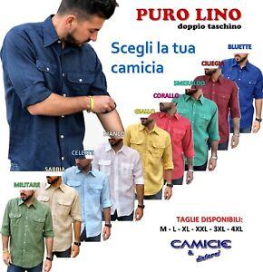 CAMICIA-100-PURO-LINO-TG-M-L-XL-XXL-XXXL-Uomo-Manica-Lunga-Blu-Bianca-Verde