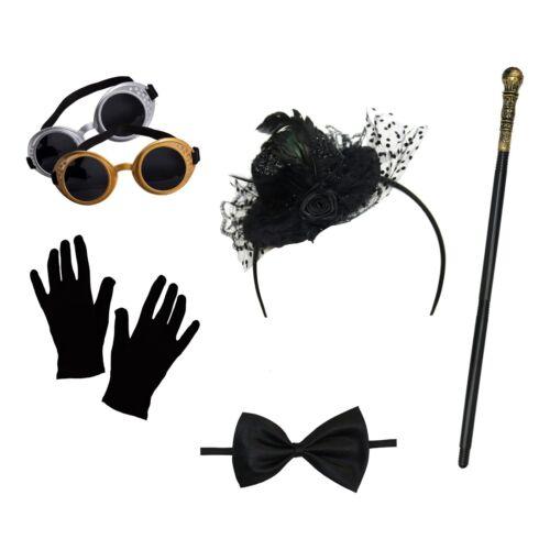 Women/'s Steampunk Costume Set Hat Headband, Goggles, Gloves, Cane, Bow Tie