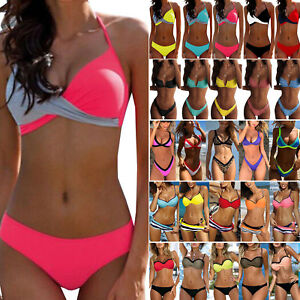 Damen Push Up Bikini Set Gepolstert Bademode Hohe Taille Schwimmanzug Badeanzug