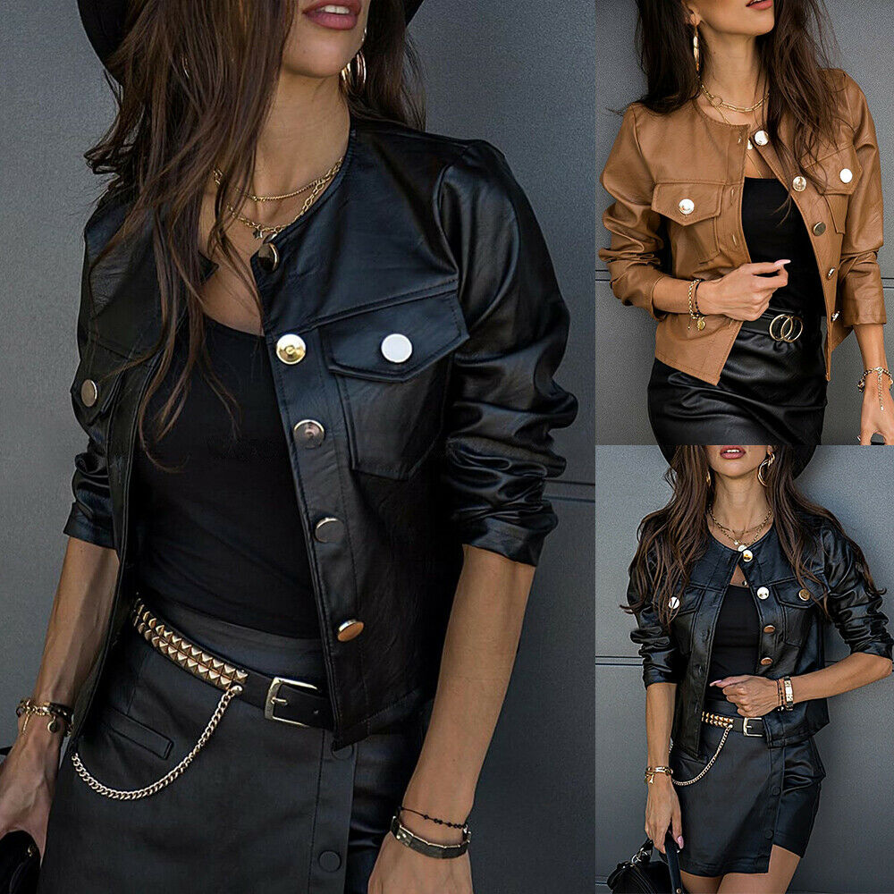 UK Womens Faux PU Leather Coat Ladies Buttons Biker Jacket Cropped Outerwear