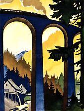 Pubblicità turismo viaggi foresta nera Germania Treno Ponte Poster Stampa LV1265
