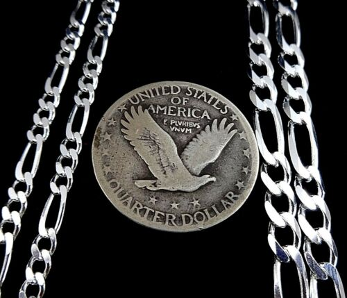 3MM or 5MM Solid 925 Sterling Silver Men/'s FIGARO Chain Necklace Made In Italy