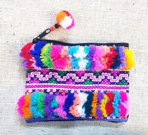 Wool Pompoms Change Purse Hmong Purse Wholesale Purse Boho Purse Small Pompom Purse Tribal Colorful Purse Pom Pom Coin Purse