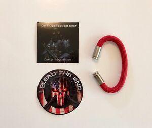 Bullet Casing Paracord Bracelet...Tru<wbr/>mp...2nd Amendment...Ni<wbr/>ckel 9mm...Red